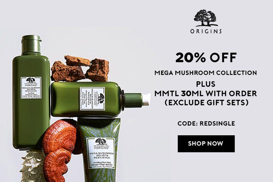 Origins悦木之源 | 双十一菌菇系列独家8折+每单送一瓶菌菇水小样!