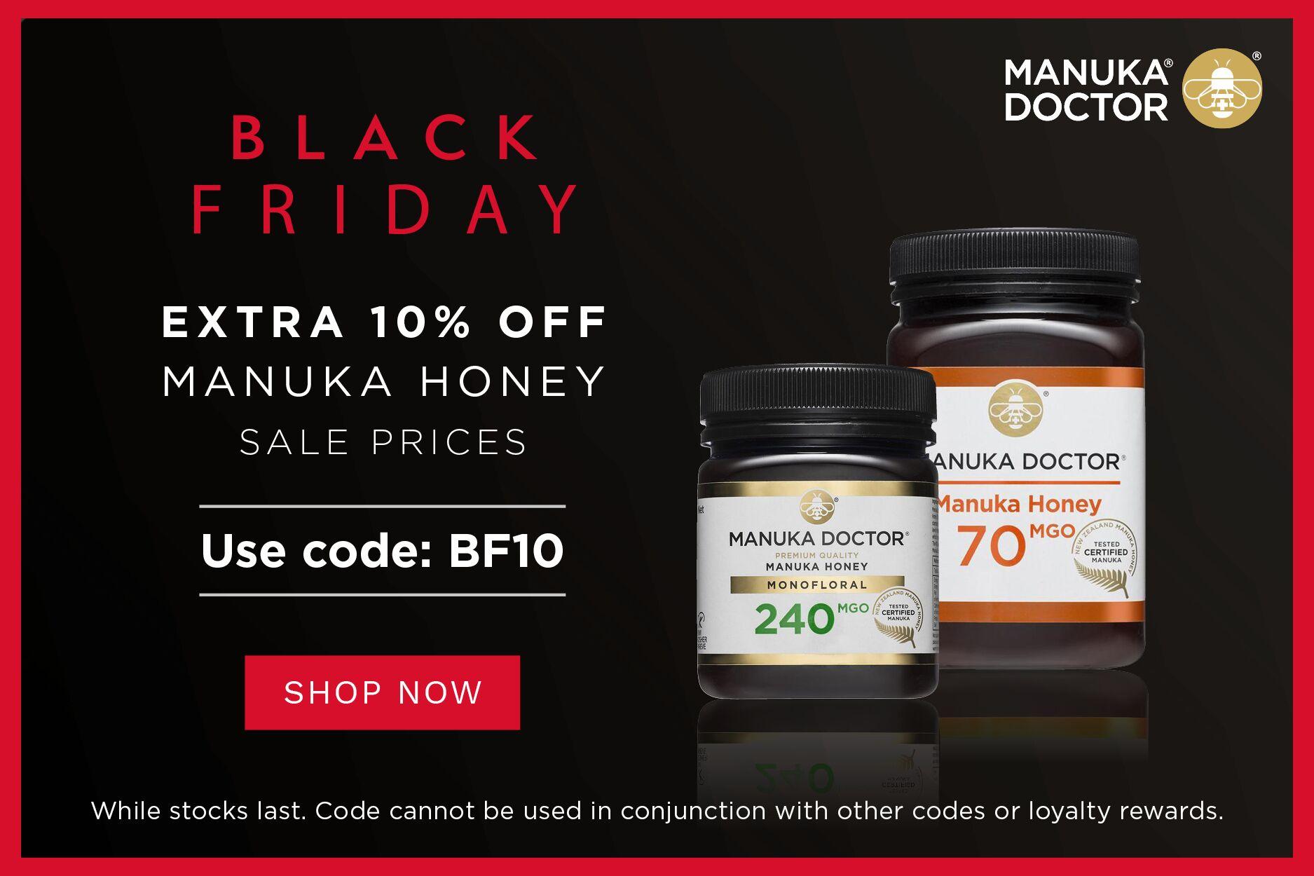 Manuka Doctor   黑五低至3折+额外9折明天截止,王牌蜂蜜折后仅£13.5